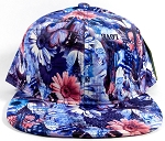 Wholesale Blank Floral Snapback Caps | Daisy Love | Blue Solid