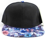 Wholesale Blank Floral Snapbacks Cap | Daisy Love | Black and Blue