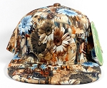 Wholesale Plain Floral Snapbacks Hats | Daisy Love | Brown Solid