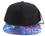 Wholesale Plain Feather Snapbacks Hats | Peacock Wing Patterns - Black Top
