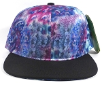 Wholesale Blank Feather Snapbacks Hats | Peacock Wing Patterns - Black Bill