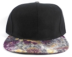 Wholesale Blank Feather Snapbacks Caps | Peacock Wing Patterns - Black Crown