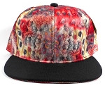 Wholesale Blank Feather Snapback Hats | Peacock Wing Patterns - Black Bill