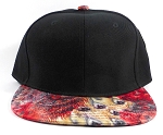 Wholesale Blank Feather Snapback Hats | Peacock Wing Patterns - Black Top