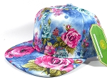 Wholesale Blank Floral Snapbacks Hats | Rose - Blue