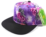 Wholesale Blank Floral Snapbacks Caps | Rose - Purple with Black Flat bill