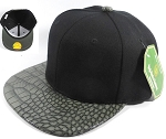 Bulk Faux Blank Alligator Skin Snapback Hats Wholesale | Black - Dark Grey