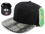 Animal Print Snakeskin Snapback Hats Caps Wholesale - Black | Black