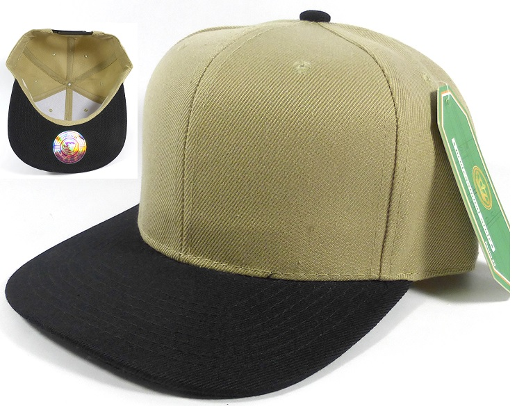 Wholesale Blank Snapback Hats Caps Khaki Black Brim
