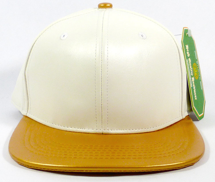 f7add75d Wholesale Blank Faux Leather Snapback Caps - Satin White | Gold. Faux  Leather Snapback - Flatbill