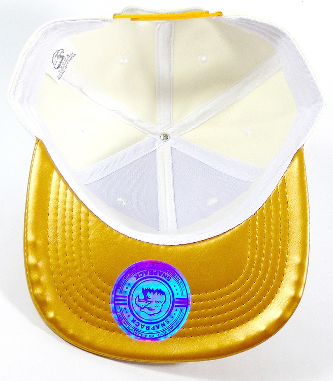 b06557b6 Wholesale Blank Faux Leather Snapback Caps - Satin White | Gold