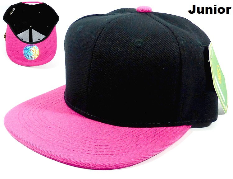 79c87b7b KIDS Blank Jr. Snapbacks Hat Wholesale - Black Hot Pink. Junior Snapback -  Two Tones