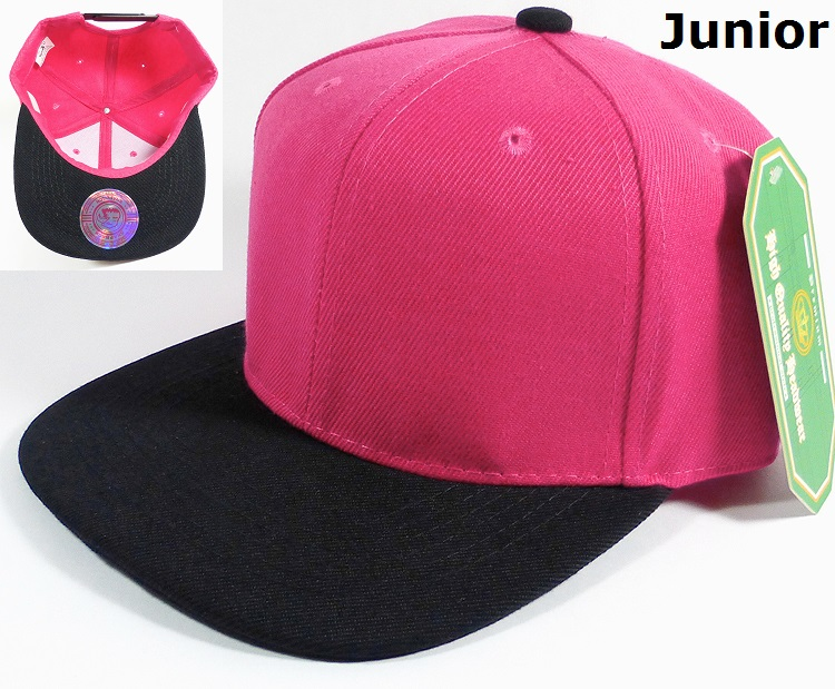5e51d93e KIDS Blank Jr. Snapback Hats Wholesale - Two Tone - Hot Pink | Black.  Junior Snapback