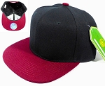 Wholesale Blank Snapback Hats Plain Caps -  Black | Burgundy