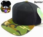 Blank Kids Jr. Snapback Hats Wholesale - Black Camo