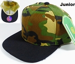 KIDS Blank Jr. Snapback Hats Wholesale - Camo | Black