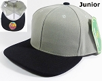 KIDS Jr. Blank Snapback Hats Wholesale - Two Tone - Light Gray | Black