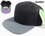 KIDS Jr. Blank Snap back Hats Wholesale - Two Tone - Black | Dark Gray