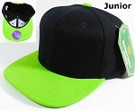 KIDS Jr. Blank Snap back Hats Wholesale - Two Tone - Black | Lime