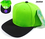 Blank Kids Jr. Snap back Hats Wholesale - Two Tone - Lime | Black