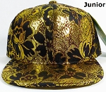 KIDS Jr. Blank Snapback Caps Wholesale - Golden Leaves Floral Hat - Solid