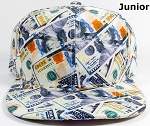 KIDS Jr. Blank Snapback Caps Wholesale - Money Bill Printed - Solid