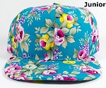 KIDS Jr. Blank Snapback Caps Wholesale - Turquoise Rose Floral Hat - Solid