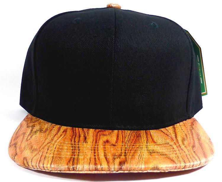 a90567828d9e7 Wholesale Blank Faux Cork Snapback Hats - Wood Brim Caps Black ...