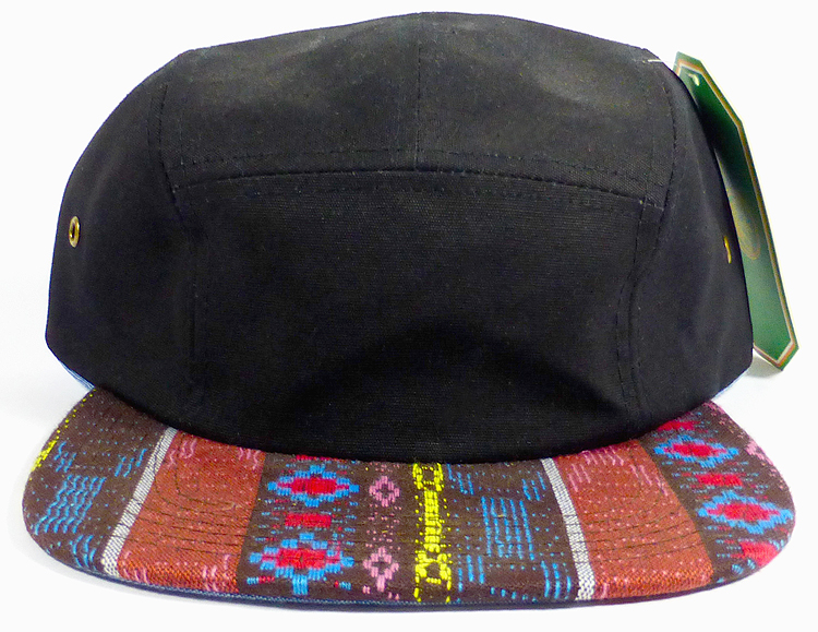 wholesale native american strapback caps brown diamond pattern five panel  hat black 01.jpg fb9b04d13457