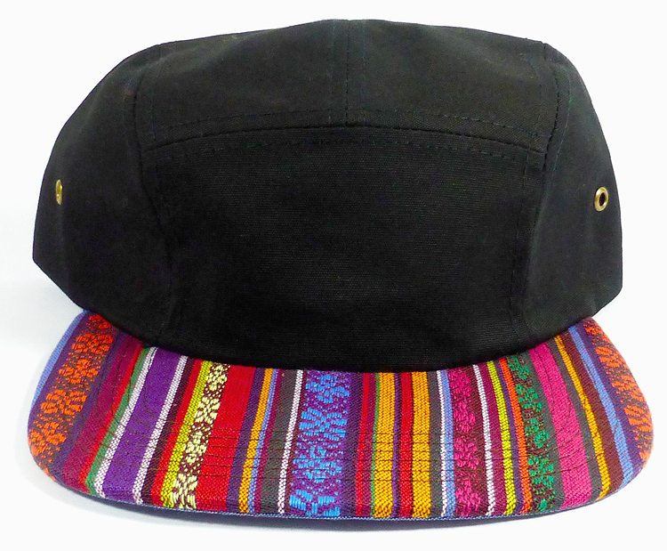31da2661142 Wholesale Blank 5-Panel Aztec Camp Hats Caps - Vertical Multicolor Symbols  - Black Top. 5 Panel Strapback Cap - Aztec