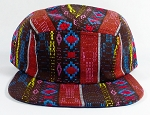 Wholesale Blank 5-Panel Aztec Camp Hats Caps - Brown Diamond Pattern