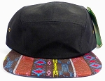 Wholesale Blank 5-Panel Aztec Camp Hats Caps - Brown Diamond Pattern - Black Top