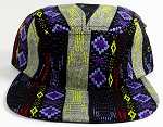 Wholesale Blank 5-Panel Aztec Camp Hats Caps - Blue Purple Diamond Pattern