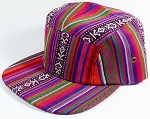 Wholesale Blank 5-Panel Aztec Camp Hats Caps - Vertical Line Design