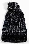 Wholesale Long Cuff Knit Pom Pom Beanie Hats - Mixed Threads - Black