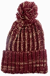 Wholesale Long Cuff Knit Pom Pom Beanie Hats - Mixed Threads - Burgundy | Khaki