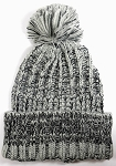 Wholesale Long Cuff Knit Pom Pom Beanie Hats - Mixed Threads - Grey | Black