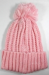 Wholesale Long Cuff Knit Pom Pom Beanie Hats - Mixed Threads - Pink | White