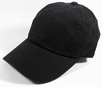 Washed 100% Cotton Blank Baseball Caps - New Strapback / Buckle - Black