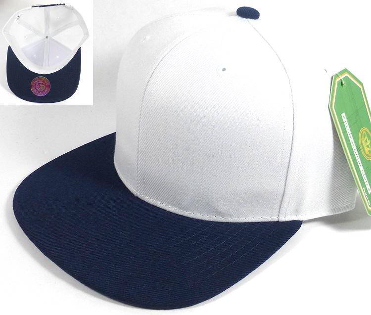 Wholesale Blank Snapback Hats Caps - White | Navy