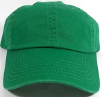 Washed 100% Cotton Blank Baseball Cap - New Strapback / Buckle - Kelly Green