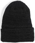 Wholesale Winter Knit Long Cuff Beanie Hats - Mixed Black