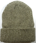 Wholesale Winter Knit Long Cuff Beanie Hats - Solid Cocoa
