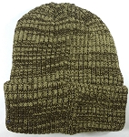 Wholesale Winter Knit Long Cuff Beanie Hats - Mixed Khaki