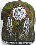 Native Pride Baseball Caps Wholesale - Wolf Dreamcatcher - Autumn Camo
