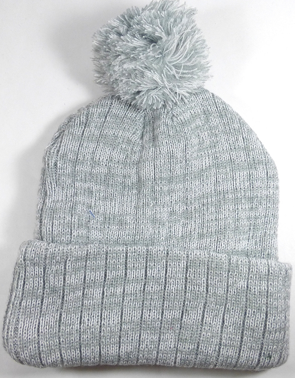 Knit Pom Pom Beanies Trendy Winter Hats - Light Gray and White 461deb2aa