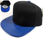 Wholesale Blank Alligator Snapback Hats Caps - Black | Blue