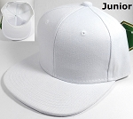 KIDS Junior Wholesale Blank Snapback Hats  - Solid White