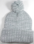 Knit Pom Pom Beanies Trendy Winter Hats - Light Gray and White