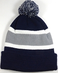 Beanies Wholesale | Pom Pom Beanies Trendy Winter Hats - Navy and Gray